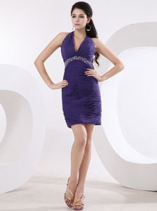Purple Halter Top Mini-length Homecoming Dresses with Ruching in Brookline