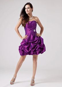 Discount Eggplant Purple Straps Short Homecoming Dance Dress with Pick-ups