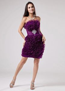 Ruffled Purple Strapless Mini-length Party Dress for Homecoming in Melbourne