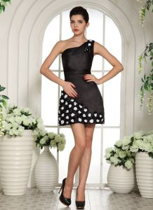 One Shoulder Mini-length Designer Homecoming Dresses in Black with Flowers