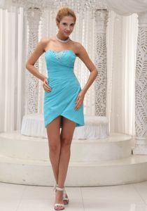 Ruched Sweetheart Mini-length Aqua Blue Homecoming Dress in Nevada City