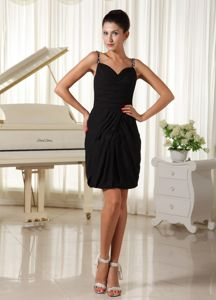 Latest Black Straps Mini-length Inexpensive Homecoming Dresses in Fairbanks