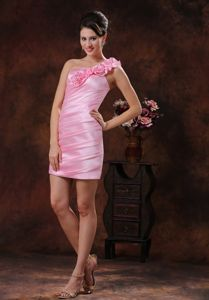 One Shoulder Sheath Mini-length Rose Pink Homecoming Dresses in Manhattan