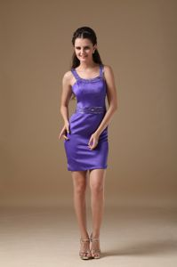 Exquisite Purple Straps Mini-length Designer Homecoming Dresses in Bedford