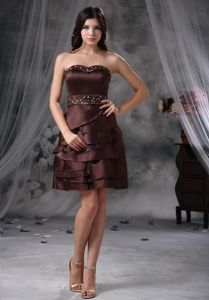 Brown Empire Sweetheart Mini-length Homecoming Dress for Juniors in Troy