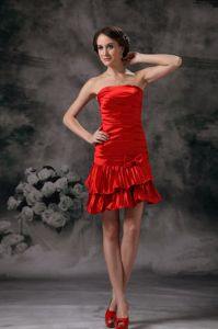 Ruched Strapless Mini-length Homecoming Dresses for Prom in Red in Boone