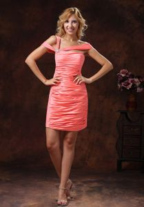 Watermelon Asymmetrical Neck Short Tight Homecoming Dress with Ruching