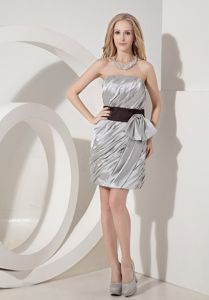 Elegant Silver Strapless Mini-length Sparkly Homecoming Dresses in Victoria