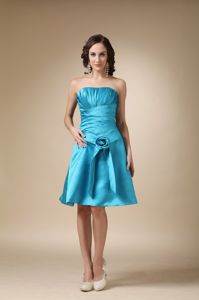 Turquoise A-line Strapless Knee-length Homecoming Dress in South Houston