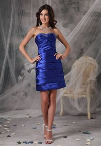 Royal Blue Sweetheart Mini-length Homecoming Princess Dress in Carrollton