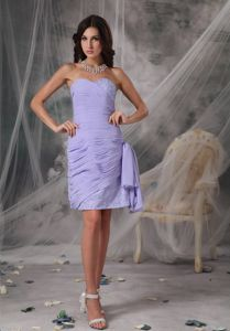 Beautiful Lilac Sweetheart Mini-length Homecoming Court Dress with Ruches