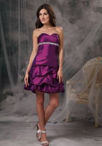 Eggplant Purple Sweetheart Mini-length Party Dress for Homecoming in Akron
