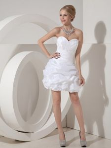 White Column Sweetheart Mini-length Homecoming Dance Dresses with Pick-ups