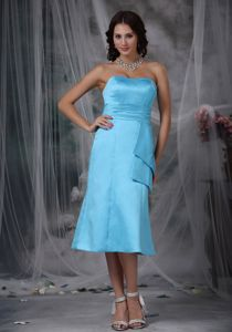 Aqua Blue Column Strapless Tea-length Sparkly Homecoming Dresses in 2013