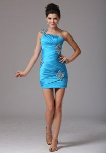 Baby Blue One Shoulder 2013 Inexpensive Homecoming Dresses with Ruches