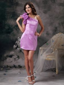 Column One Shoulder Flowery Mini-length Lavender Homecoming Court Dresses