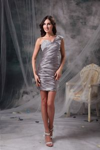 Brown Column Ruched and Beaded One Shoulder Homecoming Dresses On Sale