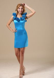 Handmade Flowers Scoop Mini-length Homecoming Dresses in Dark Sky Blue