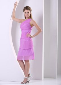 Beaded One Shoulder Lavender Knee-length Sparkly Homecoming Dresses in 2013