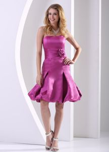 Fuchsia A-line Strapless Ruched Homecoming Dance Dresses with Handmade Flower