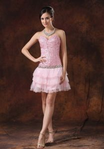 Sequins Pink Sweetheart Homecoming Dress with Flowy Layed Mini-Skirt