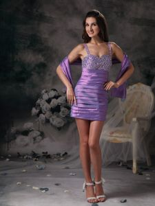 Summer Lavender Ruched and Beaded Column Straps Homecoming Dance Dresses