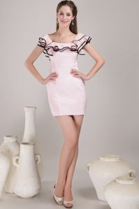 2013 Square Sheath Mini-length Baby Pink Vintage Homecoming Dresses