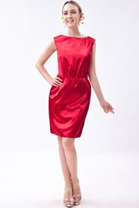 Wine Red Column Bateau Mini-length Junior Homecoming Dresses in 2013