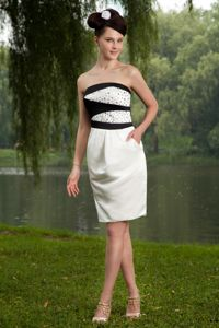 White Column Strapless Mini-length Homecoming Dresses For Prom with Beads