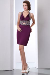 Purple Halter Beaded Homecoming Queen Dresses with Cutout in Clevedon