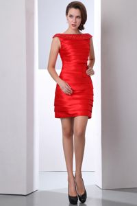Elegant Red Beaded Bateau Short Vintage Homecoming Dress with Ruche