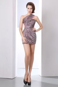 Sexy Backless Leopard Print One Shoulder Homecoming Cocktail Dresses