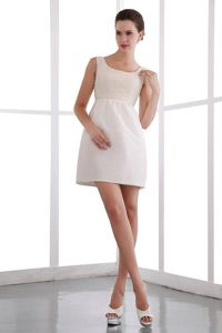 Modest Square White Short Inexpensive Homecoming Dress with Beading
