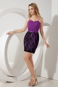 Wholesale Purple Short Homecoming Dresses with Straps and Black Laces