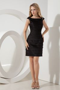 New Beaded Bateau Little Black Homecoming Queen Dresses with Ruche