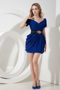 Navy Blue Short Sleeves Homecoming Cocktail Dresses with Belt in Bristol