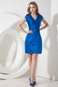 Hot Sale Royal Blue V-neck Short Sleeves Mini-length Homecoming Dress
