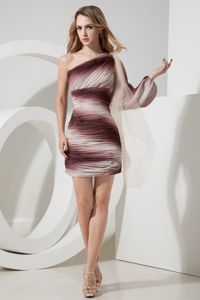 2013 Ombre Color Asymmetrical Shoulder Short Tight Homecoming Dress
