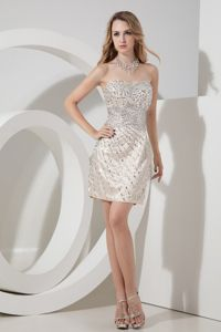 Sweetheart Champagne Cute Homecoming Dress with Beading Over Skirt