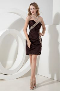 Elegant Brown Beaded Sweetheart Mini-length Tight Homecoming Dresses