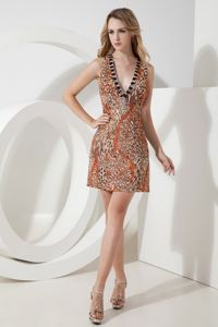 Sexy Leopard Backless V-neck Short Sparkly Homecoming Dress in Yate