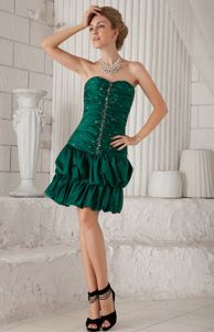 Dark Green Strapless Beaded Homecoming Dress For Juniors with Pick-ups