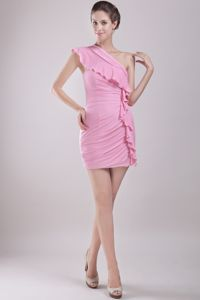 Hot sale Rose Pink One Shoulder with Ruffles Junior Homecoming Dresses