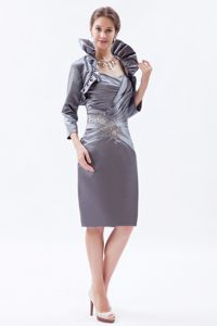 Elegant Grey Sweetheart Evening Homecoming Dress with Beading in Bath