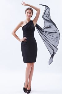 Wholesale Watteau One Shoulder Black Inexpensive Homecoming Dresses