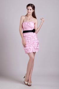 New Arrival Strapless Pink Short Homecoming Dance Dresses with Flower
