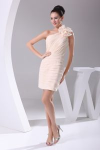 Champagne Flower One Shoulder Short Homecoming Dresses with Ruche