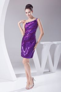 Shimmering Sequin One Shoulder Purple Homecoming Dresses in USA