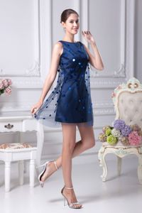 Dark Blue Mini-length Scoop Taffeta and Tulle Homecoming Dresses with Paillette and