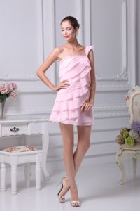 Designer One Shoulder Tiered Mini Homecoming Dresses in Baby Pink